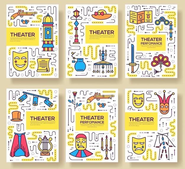 Hochwertiges theaterkarten-set mit dünner linie. festival maskerade lineare vorlage von zeitschriften.