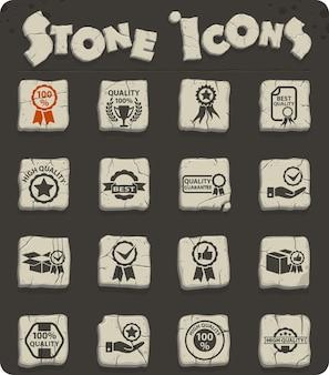 Hochwertiges web-stein-icon-set für das design der benutzeroberfläche