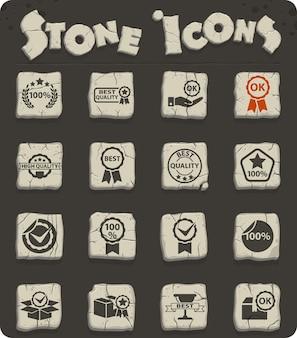 Hochwertiges web-steinsymbol auf steinblöcken im steinzeitstil für das design der benutzeroberfläche