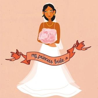 Hochzeit braut mit rotem band hintergrund
