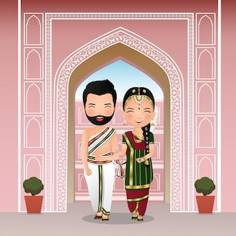 Hochzeit das niedliche paar der braut und des bräutigams in der traditionellen indischen kleidkarikaturcharakterillustration.