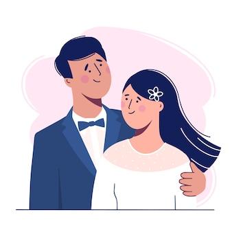 Hochzeit. die braut und der bräutigam. liebevolles schönes paar. illustration