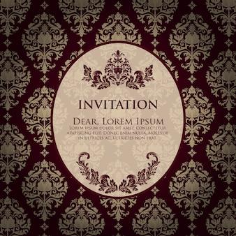 Hochzeit einladung und ankündigung karte mit vintage hintergrund kunstwerk. eleganter aufwändiger damasthintergrund. elegante florale abstrakte verzierung. designvorlage.