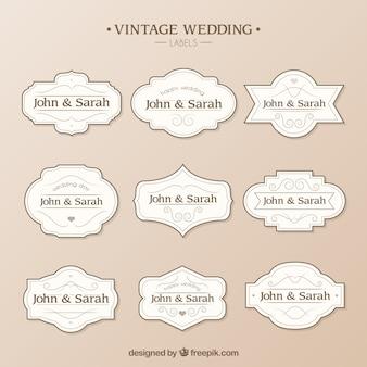 Hochzeit etiketten-vorlage Kostenlosen Vektoren