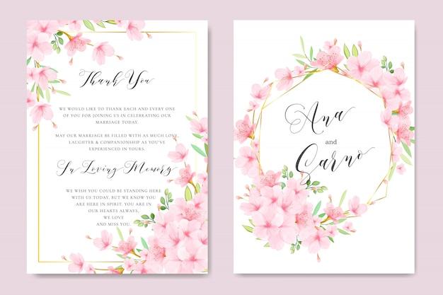 Hochzeit floral cherry blossom frame vorlage