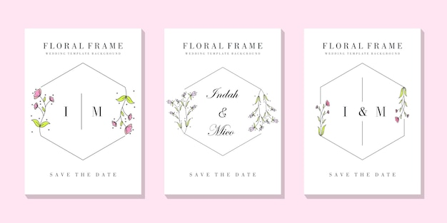 Hochzeit floral frame kartenvorlage
