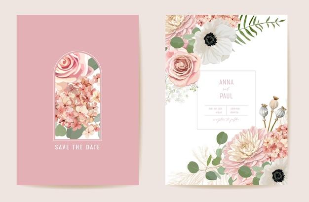Hochzeit getrocknete anemone, pampasgras, rosen floral save the date set. vektor sommer trockenblumen boho einladungskarte. aquarellfrühlingsschablonenrahmen, laubabdeckung, modernes hintergrunddesign