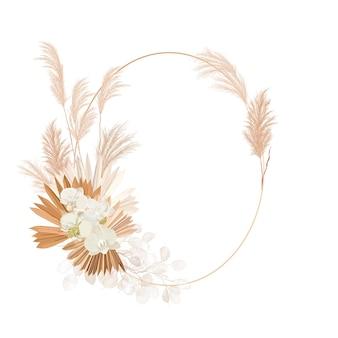 Hochzeit getrocknete lunaria, orchidee, pampasgras blumenkranz. vektor exotische trockenblumen, palmblätter boho einladungskarte. aquarellschablonenrahmen, laubdekoration, modernes plakat, trendiges design