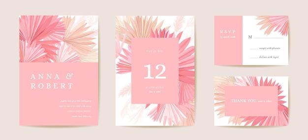 Hochzeit getrocknete lunaria, orchidee, pampasgras floral save the date set. vektor exotische trockene blume, palmblätter boho einladungskarte. aquarellschablonenrahmen, laubabdeckung, modernes hintergrunddesign