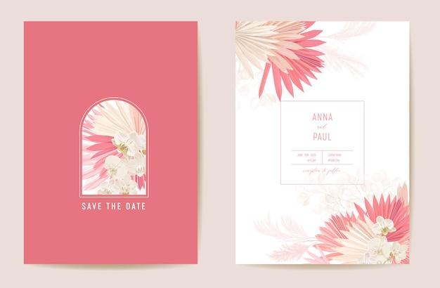 Hochzeit getrocknete lunaria, orchidee, pampasgras floral save the date set. vektor exotische trockene blume, palmblätter boho einladungskarte. aquarellschablonenrahmen, laubabdeckung, modernes plakat, trendiges design