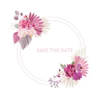 Hochzeit getrocknete palmblätter, orchidee, pampasgras blumenkranz. vektor exotische getrocknete blumen boho einladungskarte. aquarellschablonenrahmen, laubdekoration, modernes plakat, trendiges design