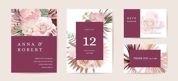 Hochzeit getrocknete protea, orchidee, pampasgras floral save the date set. vektor exotische trockene blume, palmblätter boho einladungskarte. aquarellschablonenrahmen, laubabdeckung, modernes hintergrunddesign