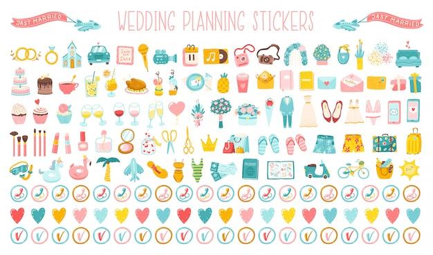 Hochzeit große reihe von cartoon handgezeichneten ikonen, aufkleber für die planung eines urlaubs. nette einfache illustrationen eines hochzeitskleides, eines kostüms, der blumen und der gesamten organisation der feier