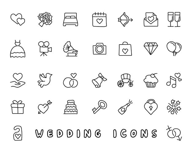 Hochzeit handgezeichnete symbole Premium Vektoren