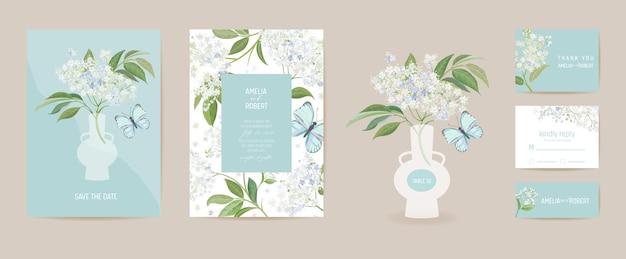 Hochzeit holunder und schmetterling floral save the date set. vektor weiße frühlingsblumen boho einladungskarte. aquarellschablonenrahmen, laubabdeckung, modernes plakat, trendiges design