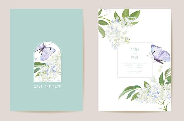 Hochzeit holunderblüten floral save the date set. vektor weiße frühlingsblume und schmetterling boho einladungskarte. aquarellschablonenrahmen, laubabdeckung, modernes hintergrunddesign