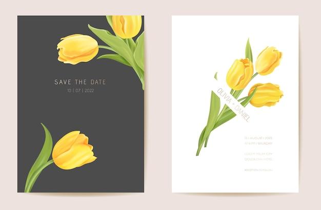 Hochzeit moderne tulpenblume save the date set. vector minimale frühlingsblumeneinladungskarte. realistischer vorlagenrahmen, laubabdeckung, sommerhintergrund, trendiges design, luxusbroschüre