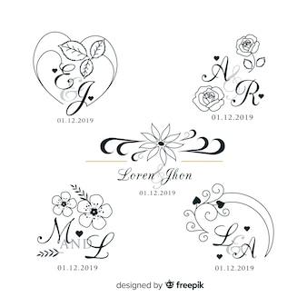 Hochzeit monogramm logo vorlagen sammlung