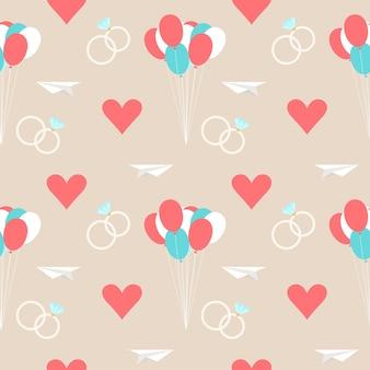 Hochzeit nahtlose romantischen dekorativen musterhintergrund mit cartoon-elementen einzeln auf stilvollem hintergrund für die verwendung im design für karten, einladungen, poster, banner, plakate, plakatabdeckungen