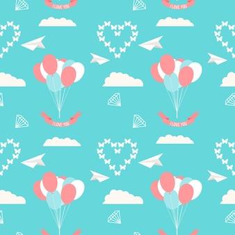 Hochzeit nahtloser romantischer dekorativer musterhintergrund mit ballons, wolken und herzen einzeln auf stilvollem hintergrund für den einsatz im design für karten, einladungen, poster, plakatabdeckungen
