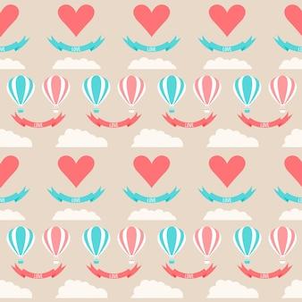 Hochzeit nahtloser romantischer hintergrund mit cartoon-elementen einzeln auf stilvollem blauem hintergrund für die verwendung im design für karten, einladungen, poster, plakatabdeckungen