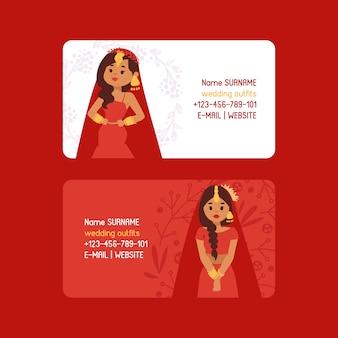 Hochzeit outfits set visitenkarten. schöne indische frau, die brautkleidung trägt. traditionelle feier, liebeszeremonie, hinduismus kostüm.