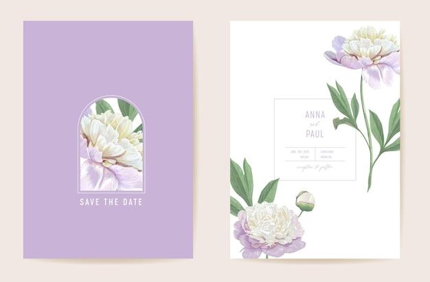 Hochzeit pfingstrose floral save the date-set. vektorfrühlingsblumen, blätter boho einladungskarte. aquarellschablonenpastellrahmen, valentinsgrußabdeckung, modernes hintergrunddesign, tapete