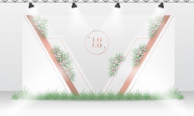 Hochzeit photocall hintergrunddesign mit weiß und rosengoldfarbthema.