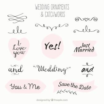 Hochzeit schmuck und stichwort sammlung