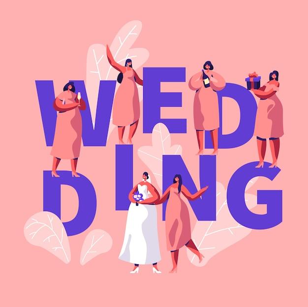Hochzeit typografie banner. bachelorette party brautparty poster. braut mit blumenstrauß tragen weißes kleid brautjungfer in pink hold present, champagnerflasche. mädchen nacht flache karikatur vektor-illustration
