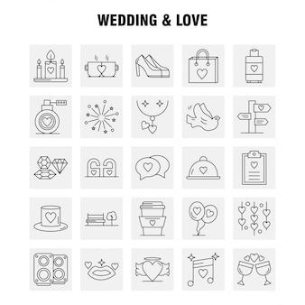 Hochzeit und liebe linie icons set