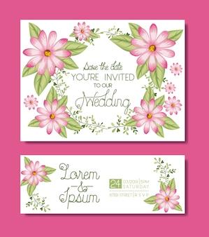 Hochzeit und verheiratete einladung legen karten mit girlanden
