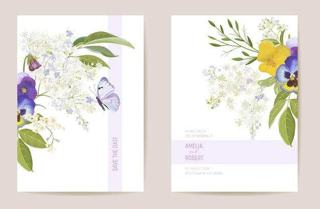 Hochzeit violette stiefmütterchen floral save the date set. vektor frühlingsblume boho einladungskarte. aquarellschablonenrahmen, laubabdeckung, modernes hintergrunddesign