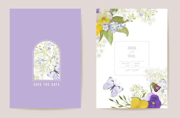 Hochzeit violette stiefmütterchen floral save the date set. vektor lila frühlingsblumen boho einladungskarte. aquarellschablonenrahmen, laubabdeckung, modernes plakat, trendiges design