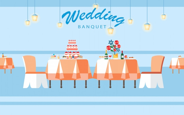 Hochzeits-bankett hall flat vector illustration Premium Vektoren