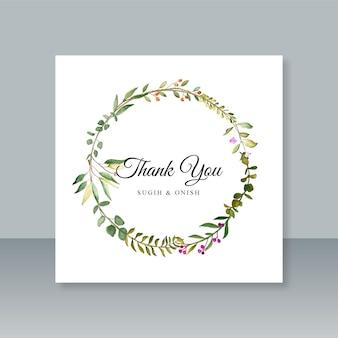 Hochzeits-dankeschön-kartenvorlage mit blattaquarell