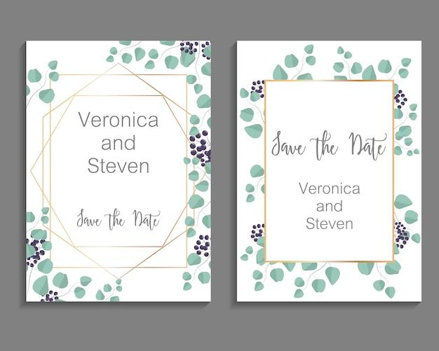 Hochzeits-einladung, blätter laden kartenschablone ein. design mit eukalyptuszweigen und viburnum tinus