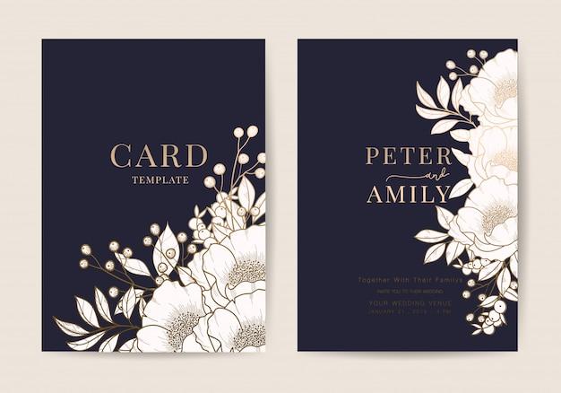 Hochzeits-einladung blumen laden moderne karte designschablone ein