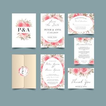 Hochzeits-einladung eingestellt mit rosafarbener weinlese des aquarells rose