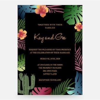 Hochzeits-einladung, mit blumen laden ein, danken ihnen, entwurfsschablone der uawg-modernen karte