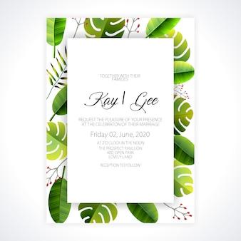 Hochzeits-einladung, mit blumen laden ein, danken ihnen, modernes karten-design des uawg: grüner tropischer palmblattgrüneukalyptus verzweigt sich dekorativer kranz
