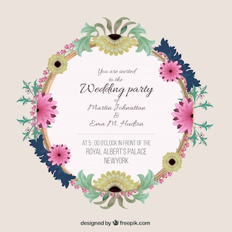 Hochzeits-einladung mit blumen