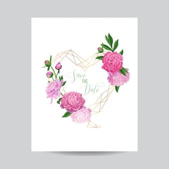 Hochzeits-einladung mit blumenabwehr der datums-rahmen