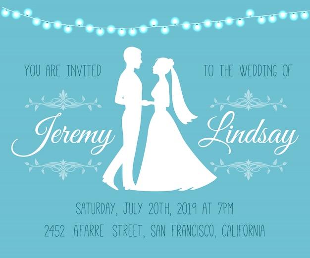 Hochzeits-einladung mit silhouetten der braut und des bräutigams