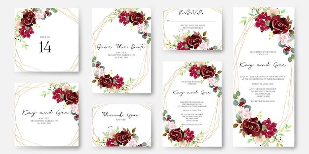 Hochzeits-einladungs-blumenmuster-schablone