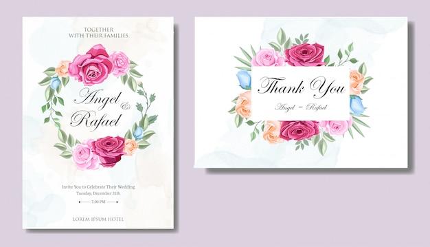 Hochzeits-einladungs-karte mit schönen blumen und blättern