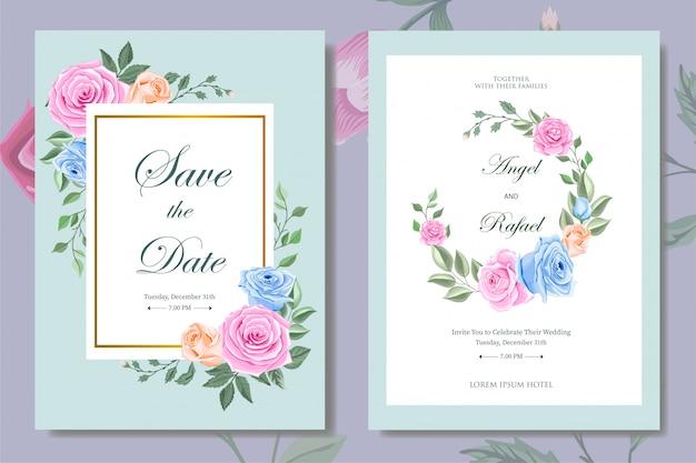 Hochzeits-einladungs-karte mit schöner blumenschablone