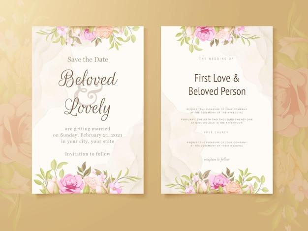 Hochzeits-einladungs-karten-blumenkonzept-schablone