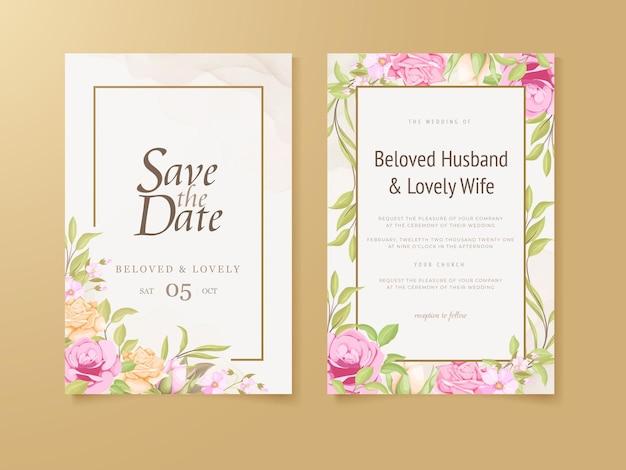 Hochzeits-einladungs-karten-blumenkonzept-schablonendesign