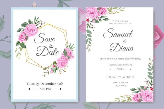 Hochzeits-einladungs-karten-schablone mit schönen blumenblättern